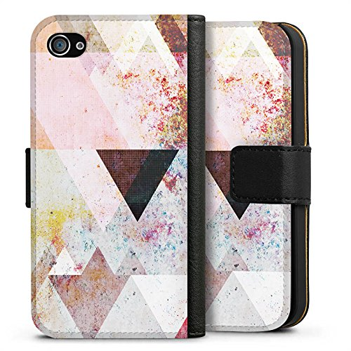Apple iPhone 5s Hülle Case Handyhülle Dreiecke Grafisch Abstrakt Sideflip Tasche schwarz