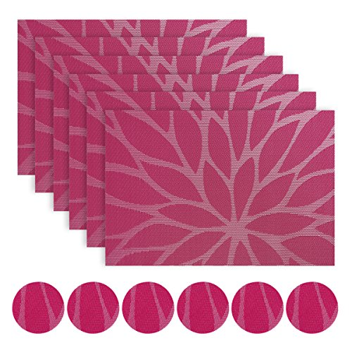 WaaHome sets de table Lot de 6 PVC en vinyle doux et tissé pour la maison/la cuisine (A-Rosy)