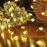 Mobestech 2PCS Star String Lights 2M 20-LED Fata di rame filo luci stringa per la decorazione di nozze di Natale (bianco caldo)