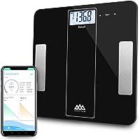 Balance Connectée Pèse-personne SENSSUN Bluetooth,balance de salle de bains numérique,balance corporelle calcul BMI,analyseur de composition corporelle avec Application Français iOS et Android - Noire