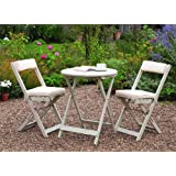 Greenhurst Solid Acacia 2 Seater Patio Set with Round Bistro Table in Antique White and matching Padded Cushions