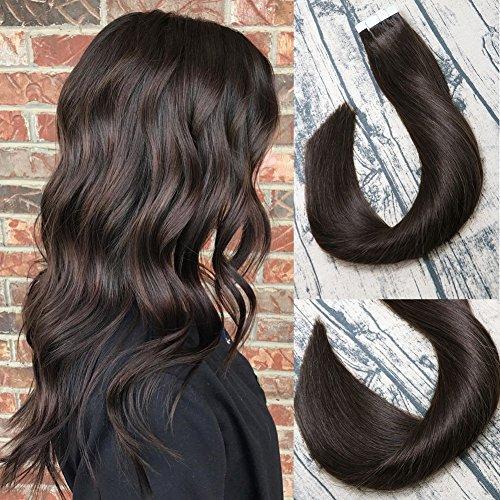 nhaarverlängerungen 20pcs 50g pro Satz #2 Dunkelbraun Remy Haarverlängerungen Nahtlose Hauteinschlag Remy Silk Glattes Haar Tape in Extensions Human Hair 16 Zoll/40 CM ()