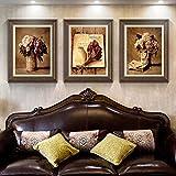 Patined American pastorale pitture decorative --- Pittura salotto divano sfondo dipinti corridoio camera da letto tripla combinazione murale fiore moderno ristorante,70*90 eccezionali tuta (adatto per 4.5 metri sopra il divano a parete di sfondo)