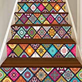 Quistal 6 Pcs Peel and Stick Tile Backsplash Stair Riser Decals DIY Tile Decals Mexican Traditional Waterproof Home Decor Stair Case Decal Stair Mural Decals (A)
