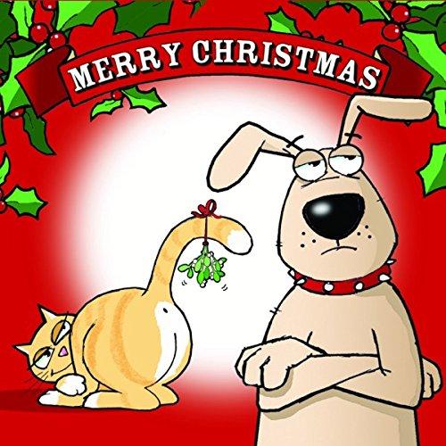 Biglietti Di Natale Divertenti.Twizler Merry Christmas Card Con Il Cane Gatto E Mistletoe Happy