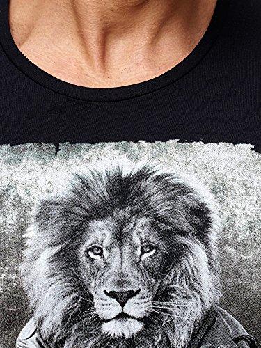 Red Bridge Herren Langarm Pulli Langarmshirt Biker Lion Motiv RBC M2110 Shirt Schwarz