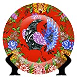 #4: Sivyati Rare Handcrafted Red/Multicolour Peacock Bird Design Ceramic Decorative Plate/Platter with Stand