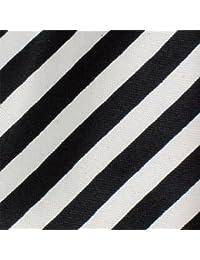 Skinny Tie (Tie57)- Men's Black with Neat White Diagonal Stripe