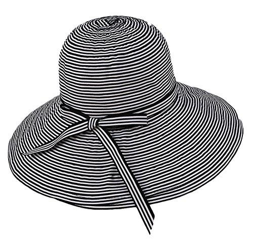 1X Toruiwa Sonnenhut Damen Faltbarer Einstellbar Fischerhut mit Bowknot breiter Krempe Hut Strand Hüte Anti UV Hut für Frühling Sommer Urlaub Strand Garten (Schwarz) (Stoff Böhmen)