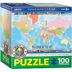Puzzle 100 piezas Euro Gráficos - Mapa del Mundo para Niños (caja de 6x6) - (EG81001271)