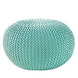 Design Pouf LEEDS 50 cm mint Bezug aus Strick Garn Sitzgelegenheit Fußhocker Sitzpouf gepolstert Sitzkissen