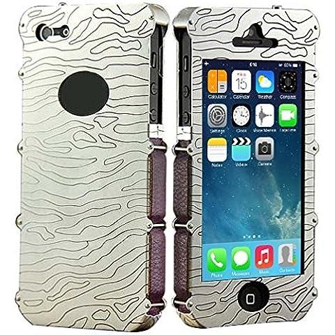 Wkae Case & Cover Showkoo Armatura Serie intagliato a mano cassa del cuoio genuino di alluminio del respingente del metallo + per iPhone 5 e 5s &SE &SE ( SKU : S-IP5G-1502 )