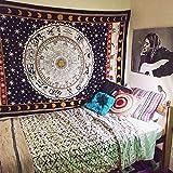 Urbancharm Tenture indienne motif signes du Zodiaque Idéale comme couverture de pique-nique, drap de plage ou nappe Noir et blanc
