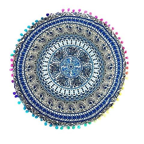 Hlhn indien Mandala Sol rond Taie d'oreiller d'oreiller Taille Couvre-lit Housse de coussin Maison Canapé pour chambre à coucher Bureau Café de voiture Décor