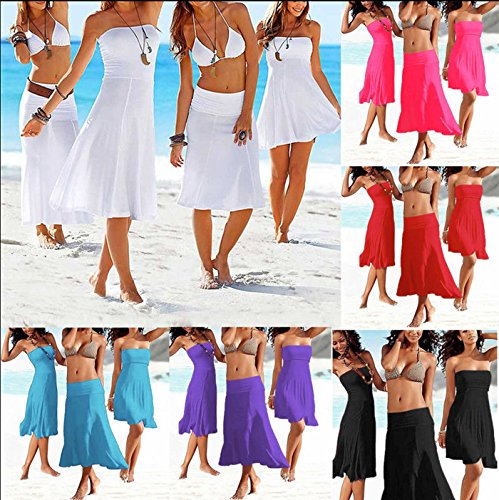 SODACODA 4 Styles in 1 - Strapless Beach Cover-up Summer Beachwear Party Dress or long bohemian Skirt – all colours (S-XL) Pastel Pink