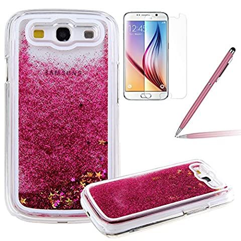 Galaxy S3 Glitzer Hülle, Felfy Samsung S3 Neo Kreativ Luxury Flüssig Fließende Sparkly Bling Stern Hot Pink Quicksand Haut Tasche Back Case Cover Etui + 1x Rosa Metall Stylus Touch Pen + 1x