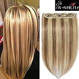 Clip in extensions echthaar Haarverlängerung 100% Remy Echthaar - 1 Stück (40cm-45g #12/613 Light Golden Brown/Bleach Blonde)
