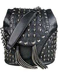 ae67d820d59f Miss Lulu Faux Leather Studded Embossed Skull Chain Backpack Shoulder Bag  Travel Leisure Work School Bags