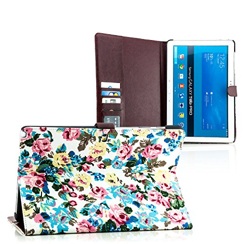 Saxonia. Tablet Tasche für Samsung Galaxy NotePro (SM-P900 P905) / TabPro 12.2 (SM-T900 T905) Schutzhülle mit Kartenfächer, Rosen Blumen Design Weiß