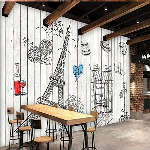 HDOUBR Fototapete handgemalte hölzerne Wandbild Paris Tower Tapete Bäckerei Kulisse Restaurant Küche Fresko, 350x245 cm (137.8 x 96.5 in) (Foto Kulissen Von Paris)