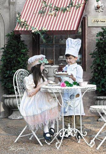 Unbekannt Puzzle 1000 Teile - Kleiner Küchenchef Mädchen Junge schwarz Kuchen Torte - Küche Kochen Küchenfee Küchenhelfer