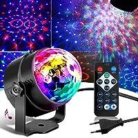 SunTop Luces Discoteca, 3W LED Giratoria Luz de Fiesta con Sonido Activado y Control Remoto, 7 Colores RGB Lámparas de Disco para Cumpleaños, Discoteca, Fiesta, DJ Bar, Karaoke, Navidad, Bodas, Club Pub