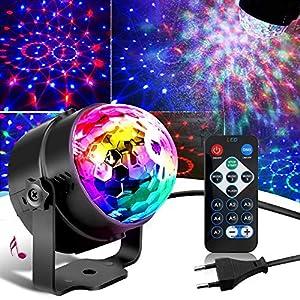 luz y sonido para eventos: SunTop Bola Discoteca LED Luces Discoteca, 3W LED Giratoria Luz de Fiesta con So...