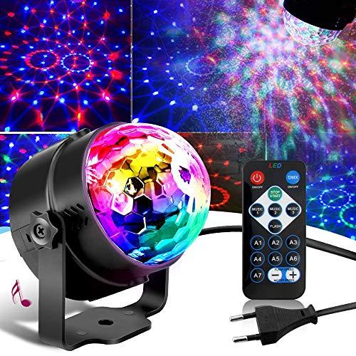 SunTop Discokugel LED Party Lampe Musikgesteuert Disco Lichteffekte Discolicht,, 7 Farbe RGB Partylicht mit Fernbedienung für Kinder, Kinderzimmer, Partei, Geburtstagsfeier, DJ, Bar, Karaoke, Weihnachten, Hochzeit, Club, Pub
