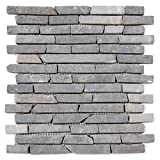 Divero 11 Matten 30 x 30cm Marmor Naturstein-Mosaik Stäbchen-Mosaik Fliesen für Wand Boden grau