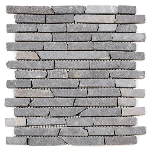 Divero 11 Fliesenmatten Naturstein Stäbchen Mosaik Fliesen aus Marmor für Wand und Boden grau á 29 x 32 cm -