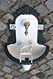 Wandbrunnen Graf von Gerlitzen Luxusgriffe Alu Bassena Wand Brunnen Weiß Grün Kran Ablauf MG-1W/G