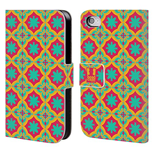 Head Case Designs Ciano Pattern Marocchini Cover a portafoglio in pelle per Apple iPhone 5 / 5s / SE Ciano