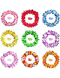 9 Pieces Flower Headband Garland - AWAYTR Bohemia Floral Crown for Women Girl Hair Accessories for Wedding Festival Party Multi Color