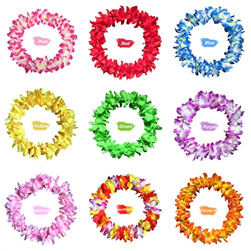 Hawaiian Luau Blume Leis Halsketten - AWAYTR Tropischen Blumen Girlande Halskette Für Geburtstag Hochzeit Party Luau Beach-Party (Baby Hawaiian Kleidung)