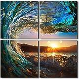 """Piy Surf Wave lienzo, océano cuadros en lienzo para dormitorio (1""""de grosor, resistente al agua, listo para colgar)"""