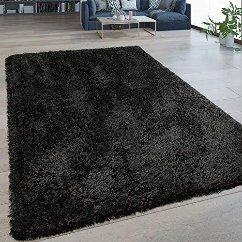 Paco Home Hochflor Wohnzimmer Teppich Waschbar Shaggy Flokati Optik Einfarbig In Schwarz, Grösse:120x160 cm -