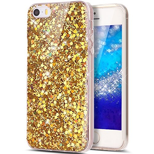 Cover iPhone SE,Cover iPhone 5S,Cover iPhone 5,ikasus® iPhone 5S / 5 & iPHone SE Case Cover TPU Specchio Custodia [Shock-Absorption] Shiny di cristallo di lusso di scintillio del diamante di Bling Gli Oro