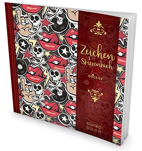 GOCKLER® Zeichen & Skizzenbuch: 100+ Blanko-Seiten, Register, Datum, Seitenzahlen, Glänzendes Softcover +++ Ideal für Handlettering, Kaligrafie oder leeres Malbuch +++ DesignArt.: Jugendlich