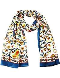 Pashmeen Border Kani Print Poly Silk Long Scarf Stole for Women 55 cms x 180 cms