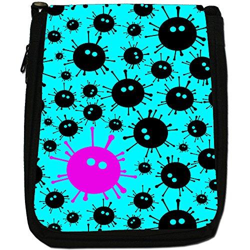 Virus, colore: nero Monsters, taglia: M, colore: nero, Borsa a spalla in tela da uomo, taglia media Nero (Turquoise Black Monsters)