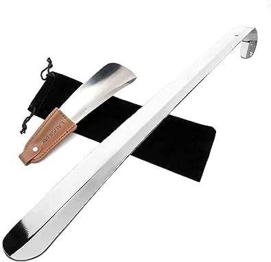 2 pc 70cm&17cm / 42cm&17cm Chausse-pied - Chausse-pied acier inoxydable avec lanière en cuir - Chausse-pied Long Manche - Facile à utiliser, parfait pour le voyage