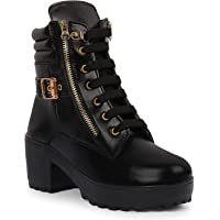 ZAPATOZ Women's Black Solid Design Heeled Boots