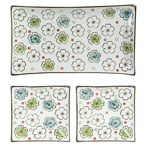 TABLE PASSION - COFFRET CHOSHI 3 PLATEAUX: 1 RECT.15x26CM ET 2 CARRES 11,5CM