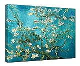 Wieco Art giclée Impression sur toile pour peintures à l'huile de Van Gogh Amandier moderne sur toile Art mural pour décoration murale et la décoration de la maison, bleu, 24x32inch