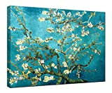 Wieco Art - Large Almond Blossom Stretched and Framed Modern Giclee Canvas Print Artwork by Classic Van Gogh Reproductions Blue Flowers on Canvas Wall Art Ready to Hang for Living Room Bedroom Home Office Decorations - Wieco Art - amazon.co.uk