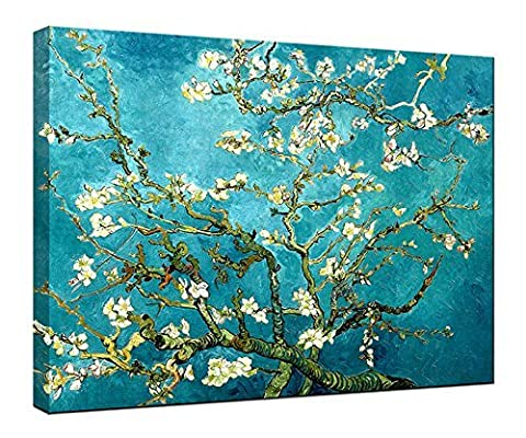 Wieco Art - Large Almond Blossom Stretched and Framed Modern Giclee Canvas Print Artwork by Classic Van Gogh Reproductions Blue Flowers on Canvas Wall Art Ready to Hang for Living Room Bedroom Home Office Decorations