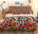 Bettwäsche-Set mit 3D-Malerei Koi 123, Kissenbezüge, Steppdeckenbezug für Einzel- und Kingsize-Bett, 3D-Foto-Bettwäsche, AJ Wallaper, UK 7