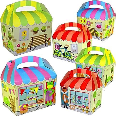 German Trendseller® - 12 x boîtes en carton avec épiceri d'animaux┃ Party Box ┃avec poignée ┃pour remplir┃ pochette surprise┃l'anniversaire