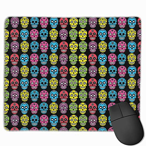keiwiornb Halloween Mexican Sugar Skull Personalized Design Mouse Pad Gaming Mouse Pad with Stitched Edges Mousepads, Non-Slip Rubber Base, 9.8x12 Inch/25 X 30cm, 3mm Thick - Best Gift ()