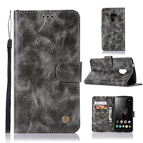 kelman Hülle für Lenovo A7010 / Lenovo Vibe K4 Note Hülle Schutzhülle PU Leder + Soft Silikon TPU Innere Schale Brieftasche Flip Handyhülle - [JX02/Grau]